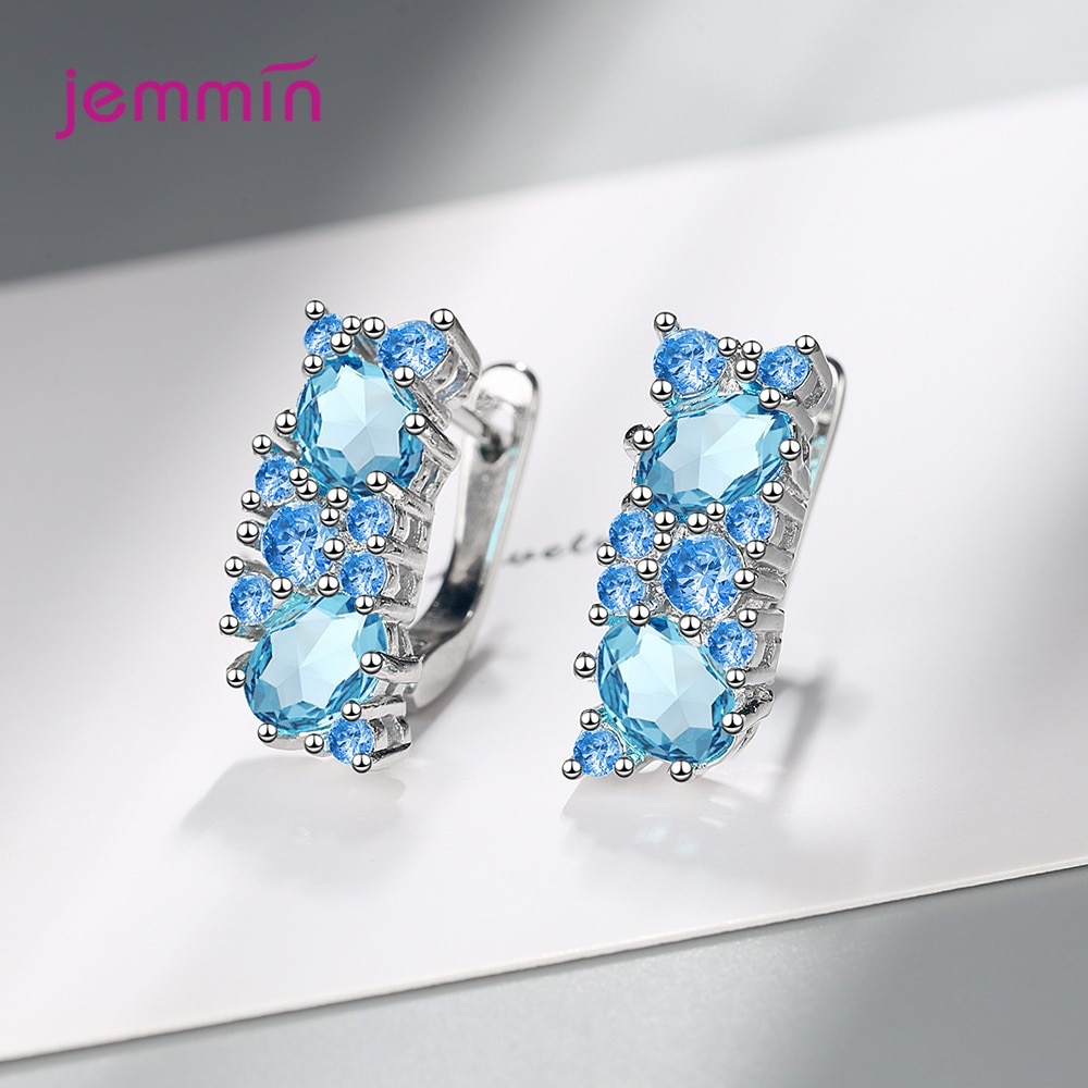 Shinning Blue Cubic Zirconia CZ Hoop Earrings for Women Real 925 Sterling Silver Korean Fashion Wedding Jewelry Anniversary Gift