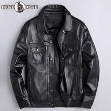 2020 New Men Casual Business Sheepskin Coat Casual Single Breasted Office Man Genuine Leather Jacket Biker Windproof Jackets