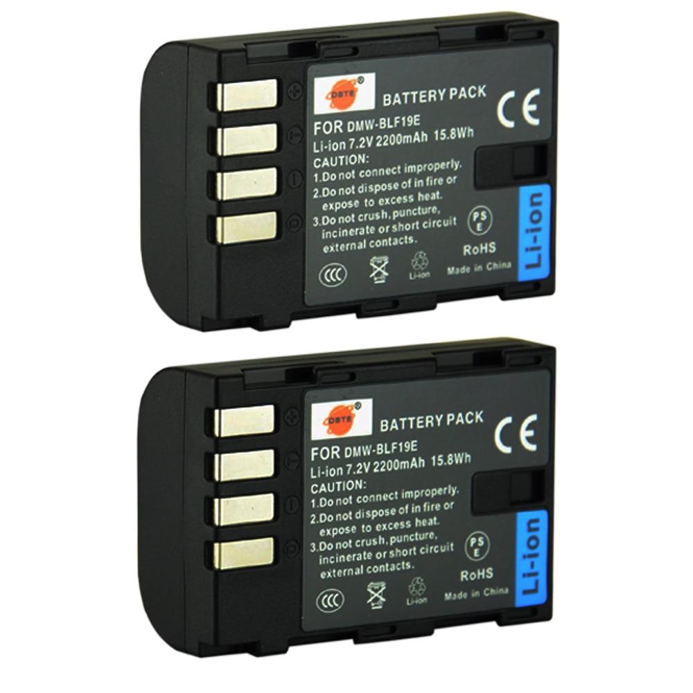 DSTE 2PCS DMW-BLF19E BLF19 Camera Battery for Panasonic Lumix DMC-GH3 DMC-GH4