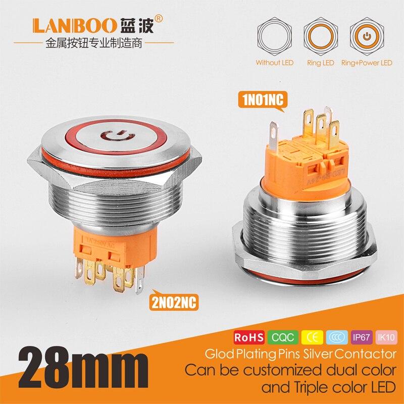 LB 28mm spst encendido momentáneo 12V24V interruptor de botón schematic cableado