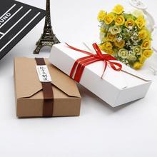 10PC 19.5*12.5*4cm Kraft Papier/Weiß Geschenk Boxen Umschlag Stil Präsentation Einladung Box Karten für Hochzeit N3E9
