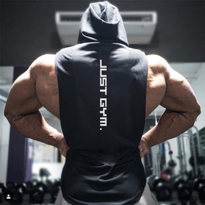 Muscleguys Gym Hooded Tank Top Men Brand Clothing Cotton Bodybuilding Hoodie Vest Workout Singlets Fitness Sleeveless Shirt