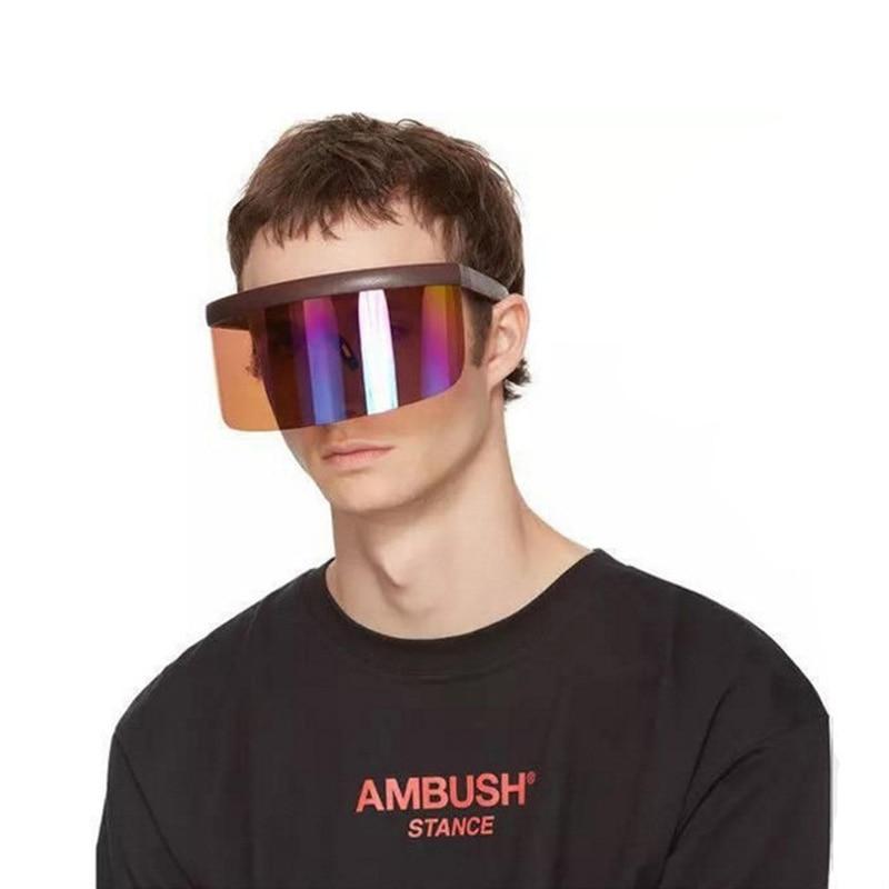 Nova oversized exagerada ciclismo rosto escudo máscara capa viseira óculos envoltório grande espelho óculos de sol metade equipamento guarda