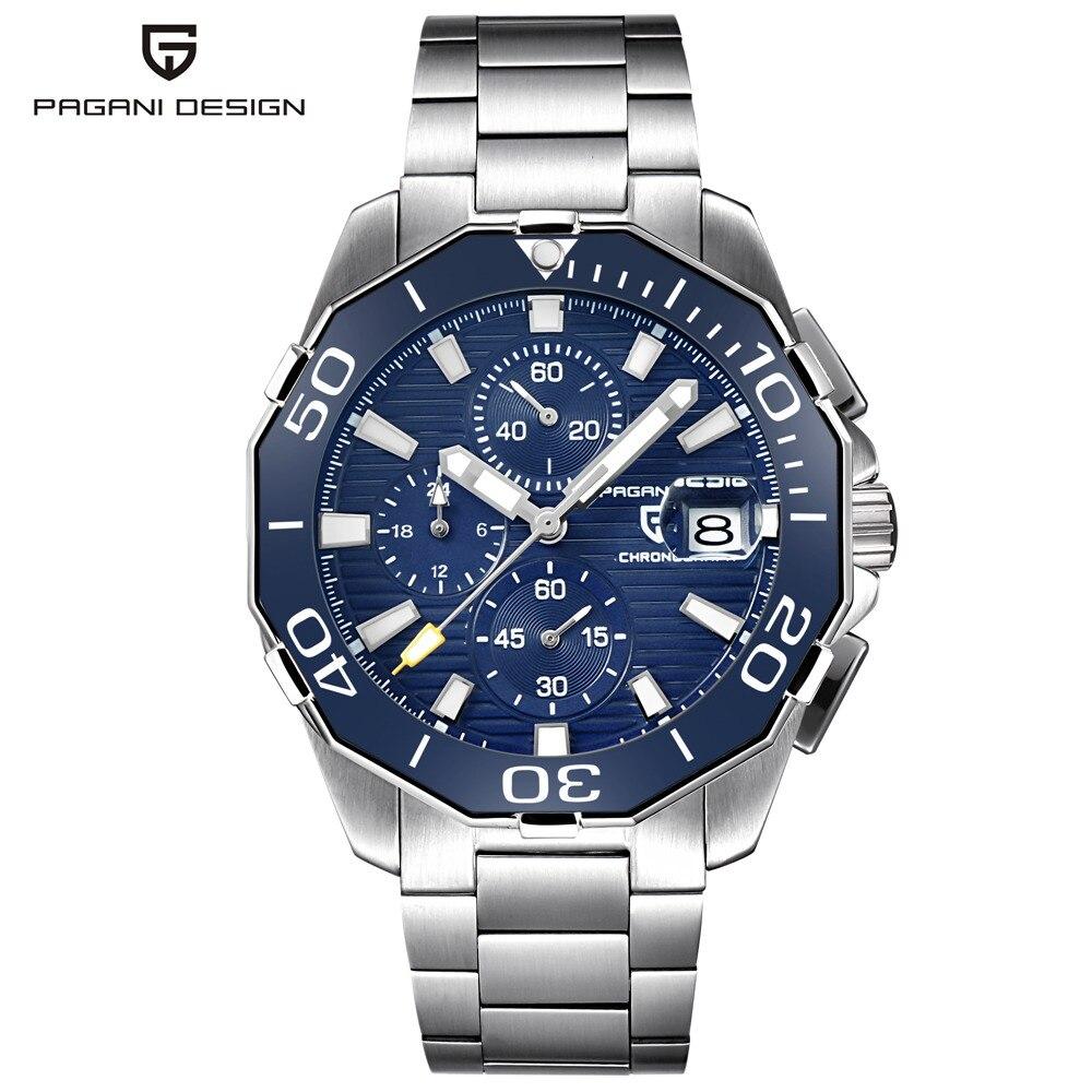 Pagani design relógio de pulso masculino, relógio de aço inoxidável, cronógrafo de marca de luxo, esportivo, negócio, à prova d água, quartzo, relógio de homens