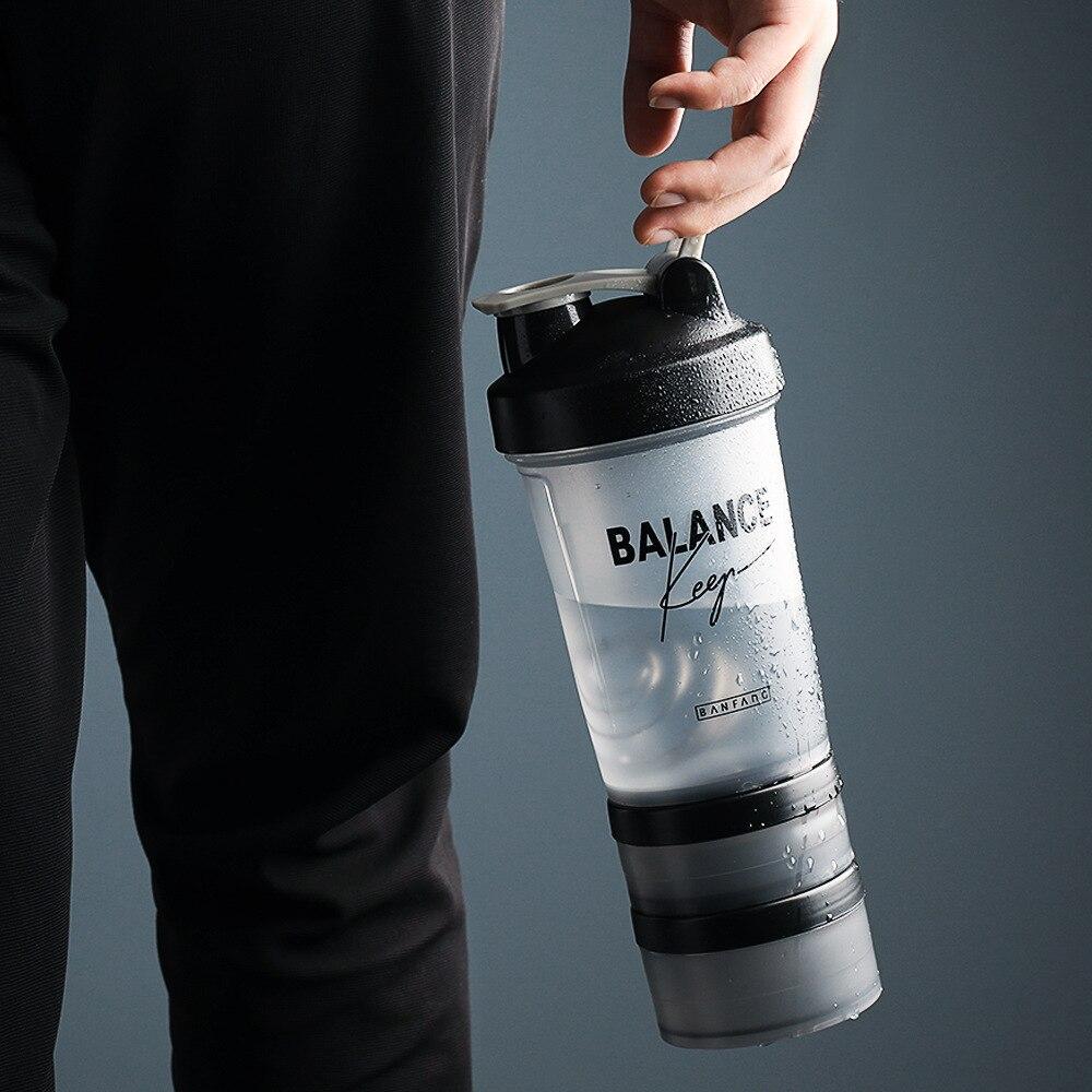 Botellas de agua deportivas portátiles 500 proteína ML coctelera mezcla de leche viajes al aire libre camping botella de plástico a prueba de fugas libre de BPA