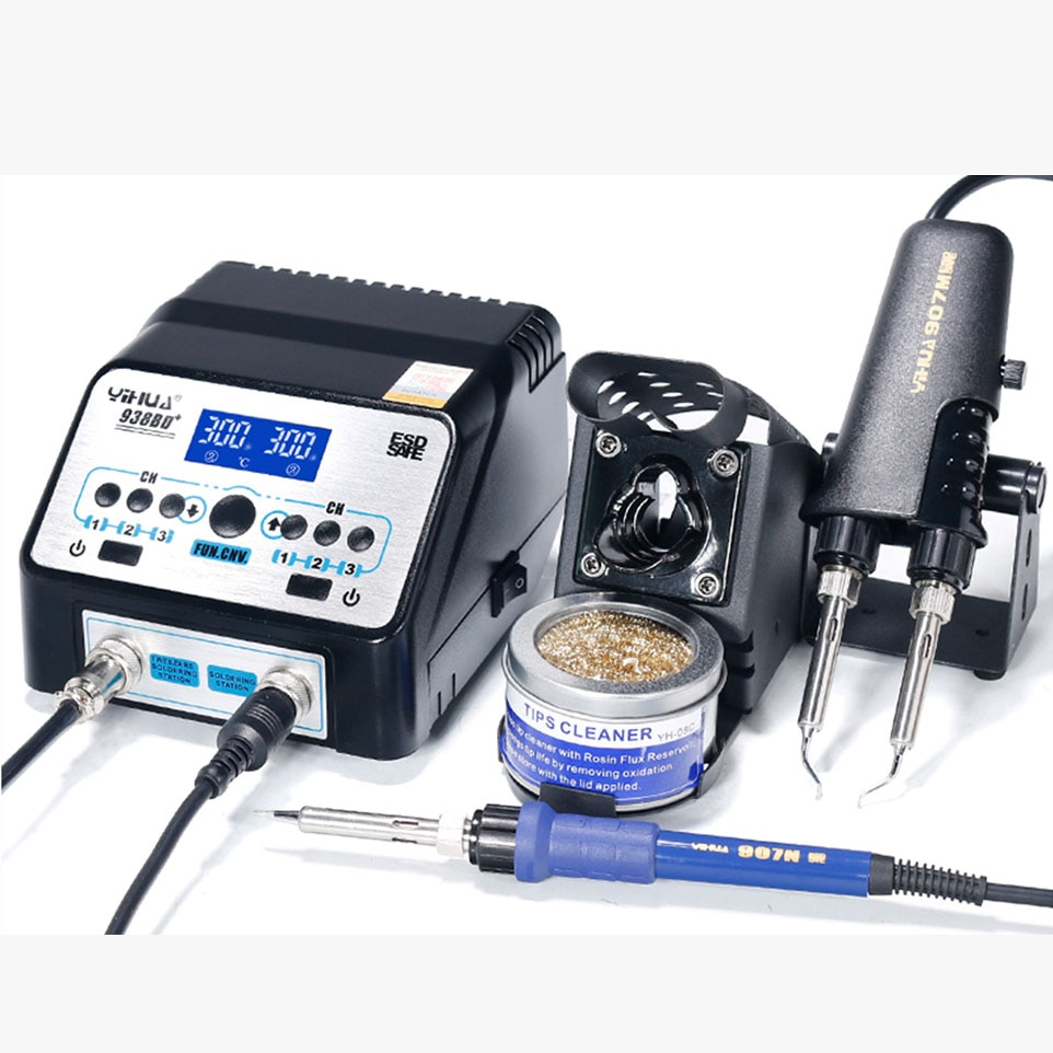 YIHUA 938BD-plus Upgraded Version SMD Hot Tweezers Soldering Station Tweezers and Soldering Iron for Components Repair