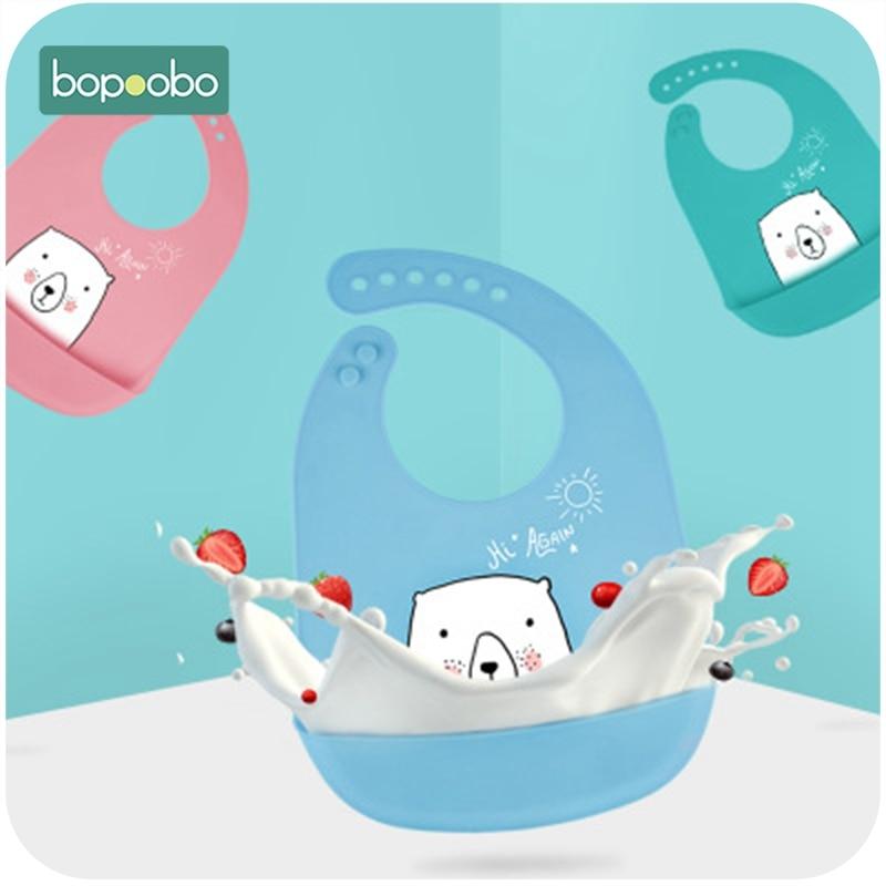 Bopoobo 1PC Baby Bib Silicone BPA Free Bib Silicone baby Eating Bib Three-dimensional Disposable Child Bib Fasion Style Useful