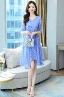 2021 korea chic elegant temperament star print v neck waist slimming puff sleeve dress long skirt female