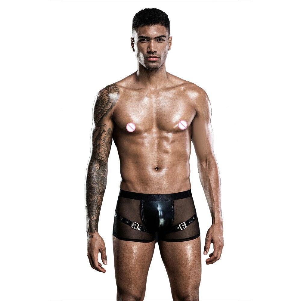 Ropa interior Sexy Gay para hombres, lencería masculina, suspensorio, tangas de cuerda para hombres, calzoncillos de cuero sólido, bragas, Correa hueca 7265