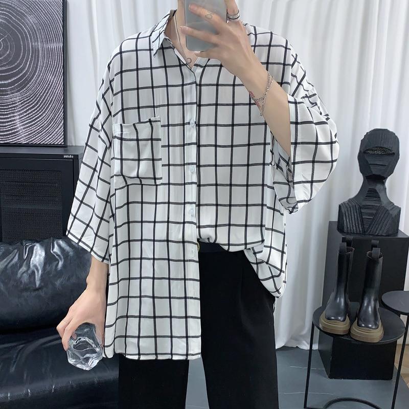Summer New Plaid Shirts Men Male Casual Short Sleeve Shirt Mens Clothing Boys Student Shirts Camisa Masculina Chemise Homme