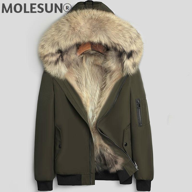 AKOOSUN الرجال سترة الشتاء سميكة ملابس رجالي 2021 جديد الذكور سترة معطف مقنع ريال الراكون فرو سترات Erkekler Parkas LXR360