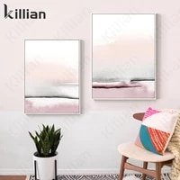 nordic pink seascape painting oil painting picture print poster scandinavian style home decoration modern posters aesthetic