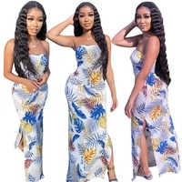 rstylish 2021 summer leaves printed strapless side high slit women sexy club party night floor length maxi dress
