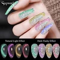 supwee 10ml rainbow cat eye gel nail polish glitter effect reflective semi permanent soak off gel polish uv for nail gel varnish