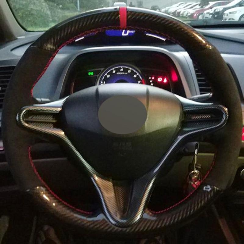 DIY الأسود الجلد المدبوغ ألياف الكربون سيارة عجلة القيادة غطاء لهوندا سيفيك 2004-2011 (3 تكلم) سيفيك سيفيك 8 2006-2009