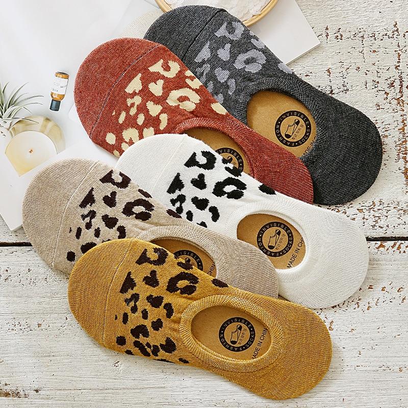 Женские носки с леопардовым принтом, Нескользящие силиконовые носки с леопардовым принтом, весна-лето 200