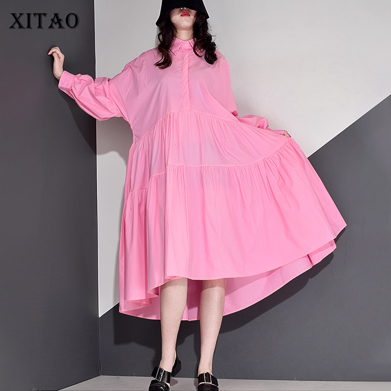 XITAO Plus Size Dress Fashion New Women Pleated Goddess Fan Casual Style Pullover Full Sleeve 2021 Spring Autumn Dress ZY3676