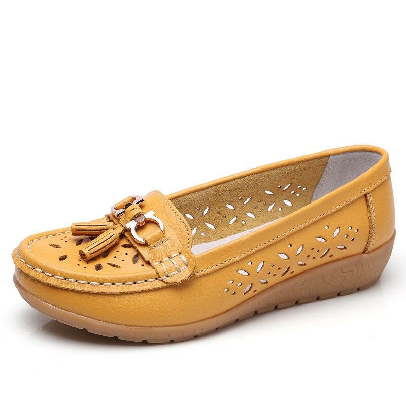 Zapatillas Planas De Piel Auténtica Para Mujer, Zapatos Planos Informales, Sin Cordones, Suaves, Para Mujer, Para Verano