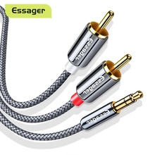 Essager RCA Cable 3.5mm Jack to 2 RCA Aux Audio Cable 3.5 mm Male to 2RCA Adapter Splitter for TV Bo