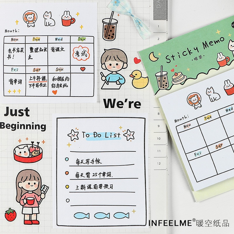 Mohamm 30 Blätter Woche Plan Cartoon Sticky Notes Post Notizblock Memo Pad Kawaii Schreibwaren Büro Schule Liefert Zubehör