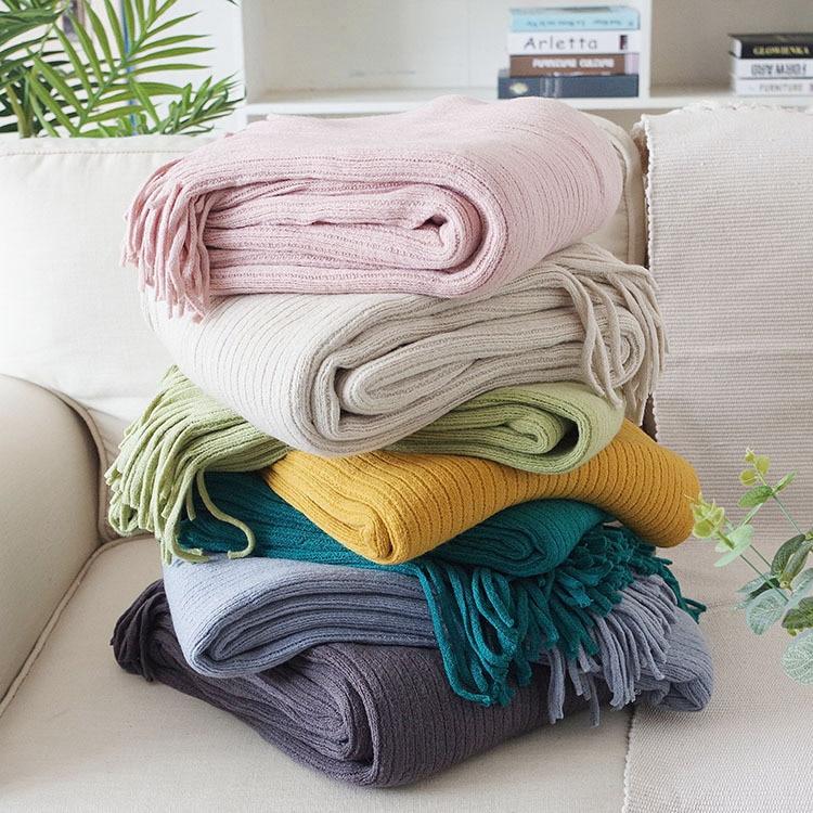 Homestay لينة عادية الديكور السرير القدم بطانية خط بطانية متعددة الوظائف أريكة بطانية المحمولة الدافئة دثار محبوك