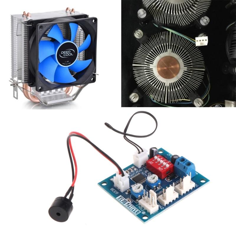 12V PC CPU 4 Wire Fan Temperature Control PWM Speed Control Module with Alarm + Buzzer & Sensor