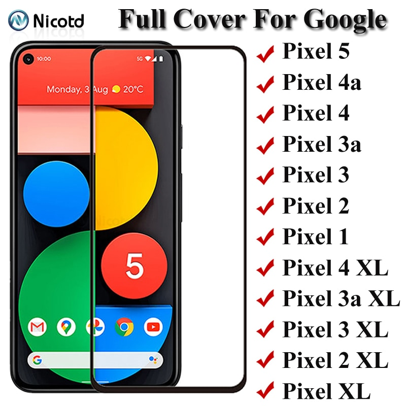 Full Cover Tempered Glass For Google Pixel 5 4 3 2 1 Pixel 4a 3a Screen Protector For Google Pixel 4 XL 3a XL 2 XL XL Glass Film