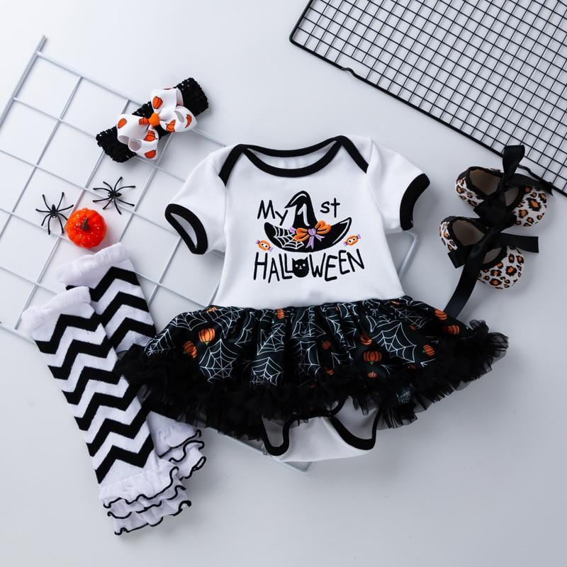 4PCS/Set Newborn Halloween Baby Clothes Toddler Girl Jumpsuit Baby Costume Tutu Skirt Cotton Newborn Girl Romper Infant Clothing