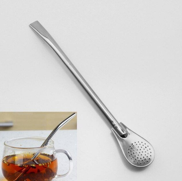 1 pieza de acero inoxidable ecológico pajitas coladoras de té coctel coctelera cucharas filtradas de café herramientas prácticas de té