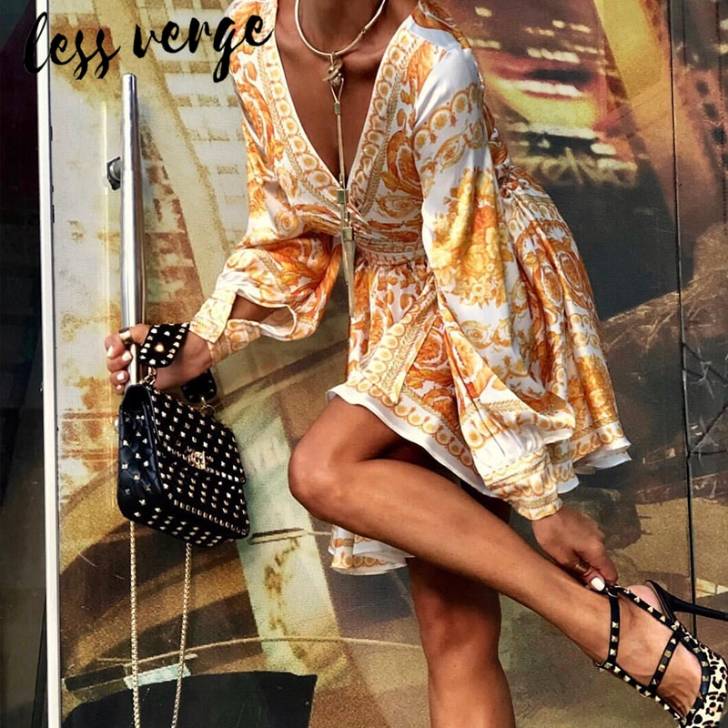 Vestido corto Lessverge Sexy estampado amarillo para mujer, vestido vintage de otoño paisley, Vestido corto de manga larga con cuello en V, vestidos de fiesta