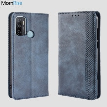 For OPPO A53 / A32 2020 Case Book Wallet Vintage Slim Magnetic Leather Flip Cover Card Stand Soft Co