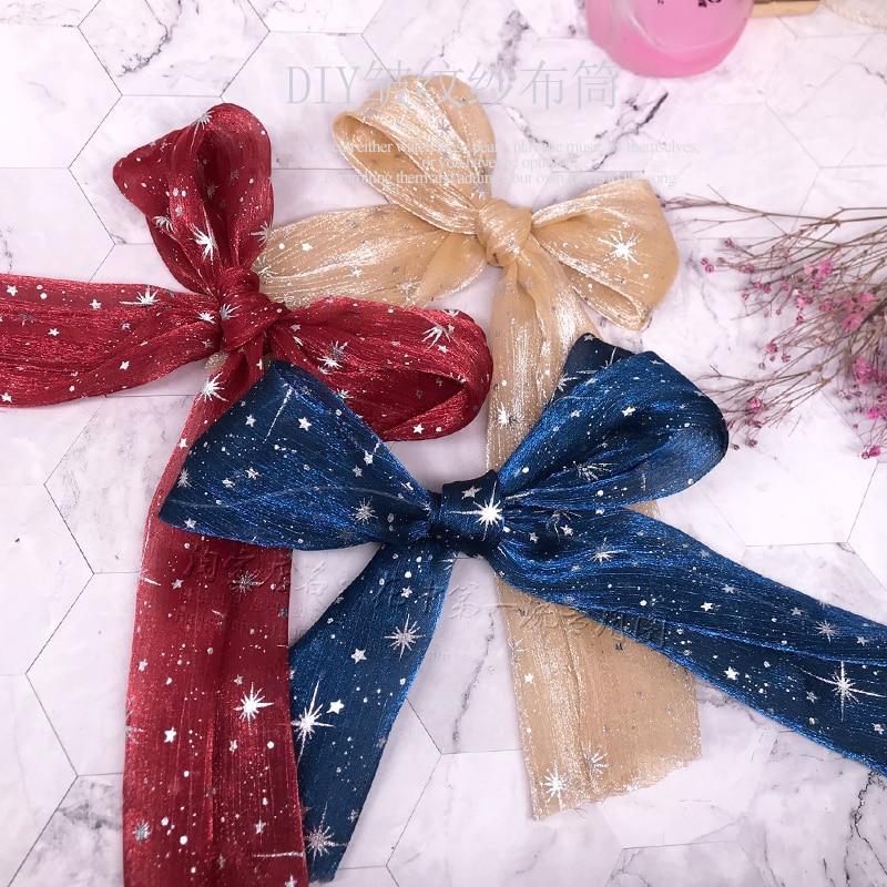 Kewgarden 7cm Shiny Star Voile Ribbon Cloth tube DIY Hair ring Accessories Handmade Tape 5 Yards