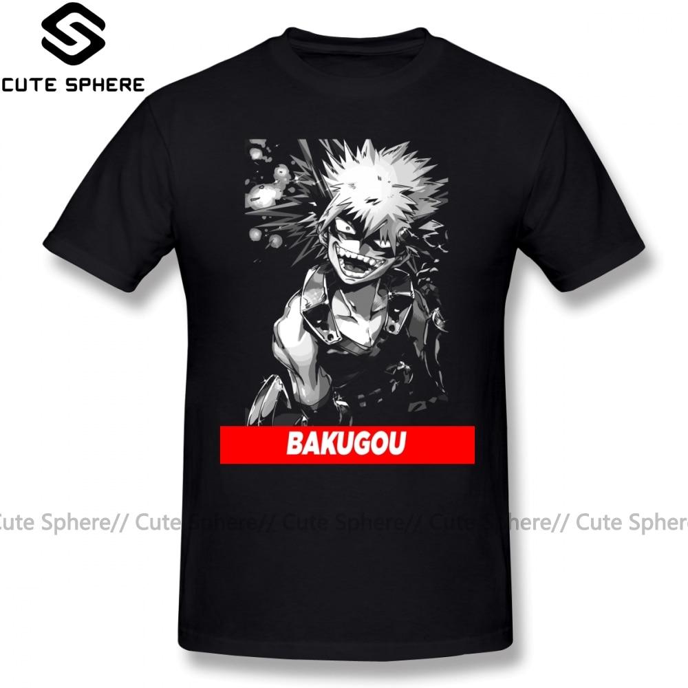 Camiseta bakugou boku no hero academia, camiseta com estampa de manga curta plus size para homens