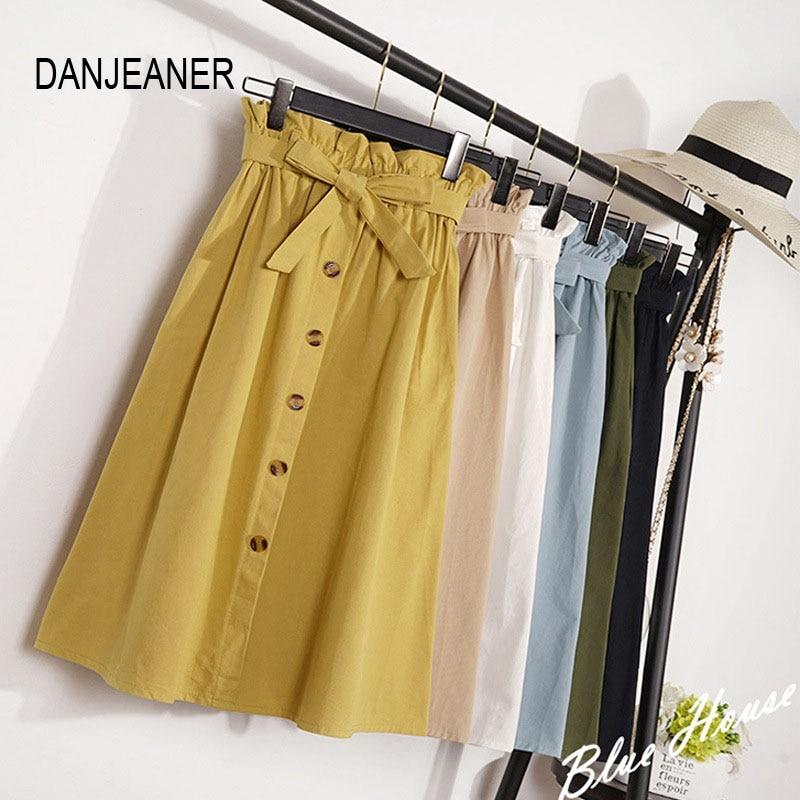 DANJEANER primavera faldas de verano vestido Midi rodilla longitud coreano elegante Botón de cintura alta Falda Mujer plisado falda para la escuela