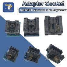 Zócalo adaptador SOP16 a DIP8 de cuerpo ancho 150mil 200mil 208mil 300mil programador SOP8 para EZP2010 EZP2013 CH341A IC test