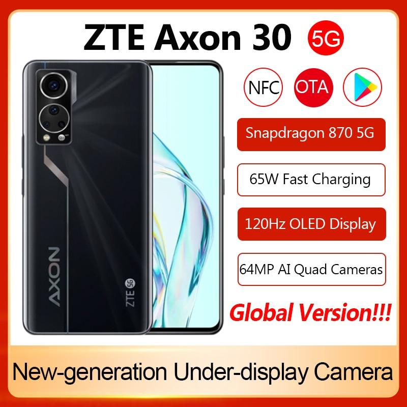 Смартфон Global ZTE Axon 30 5G, Snapdragon 870, быстрая зарядка, 65 Вт, 4200 мАч, 64 мп, A