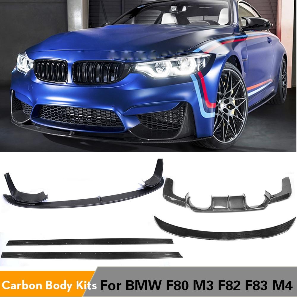 شفرة المصد الأمامي للسيارة ، المصد الخلفي ، التنانير الجانبية لسيارات BMW F80 M3 F82 F83 M4 14-19 Sedan القابلة للتحويل ، مجموعات هيكل من ألياف الكربون