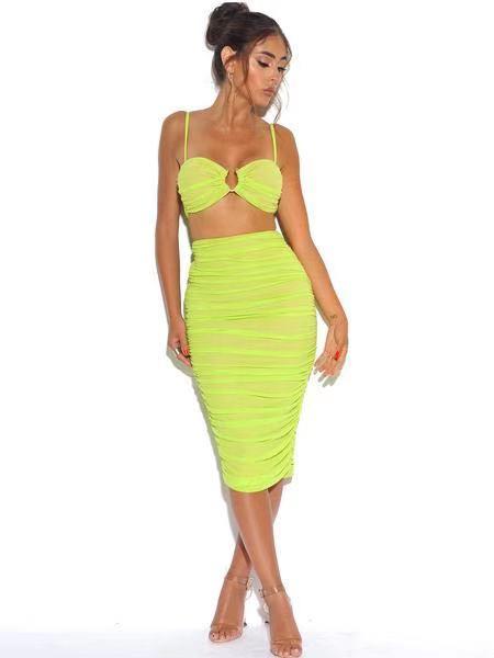 Neon Verde Malha Stretch Saia & Top Com Centro Anel conjunto pedaço bandagem VESTIDO da senhora partido RUCHED ORGANZA MALHA 2 clube vestido