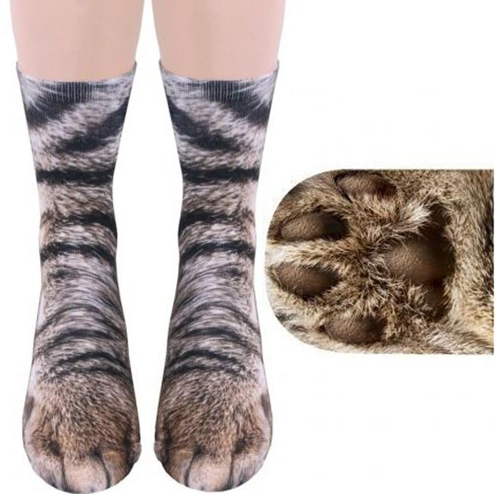 2020 Viernes Negro moda Unisex adultos niños Animal pies 3D impreso transpirable medio tubo calcetines de regalo de Navidad gato calcetines garras