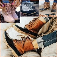 womens boots lady duck boot with waterproof zipper rubber sole women rain boots lace up ankle shoes fur winter women shoes