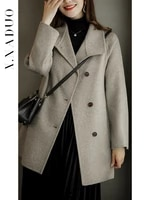 high end primary double sided cashmere coat womens 2021 new medium and long belt australian wool tweed coat