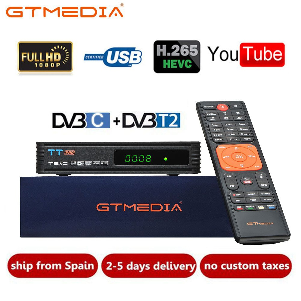 DVB T2 GTMEDIA TT Pro DVB-C DVB-T2/T Tunner TV Combo terrestre recibidor compatible con H.265 Europa, España Italia Cline