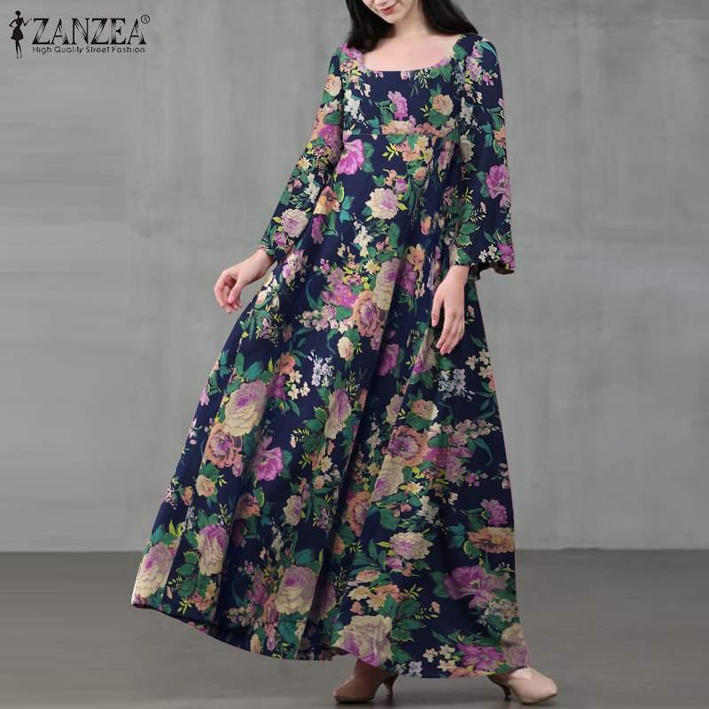 ZANZEA automne femmes à manches longues robe Vintage col carré robe de soleil femme rétro imprimé fleuri décontracté Maxi Vestidos grande taille 5XL