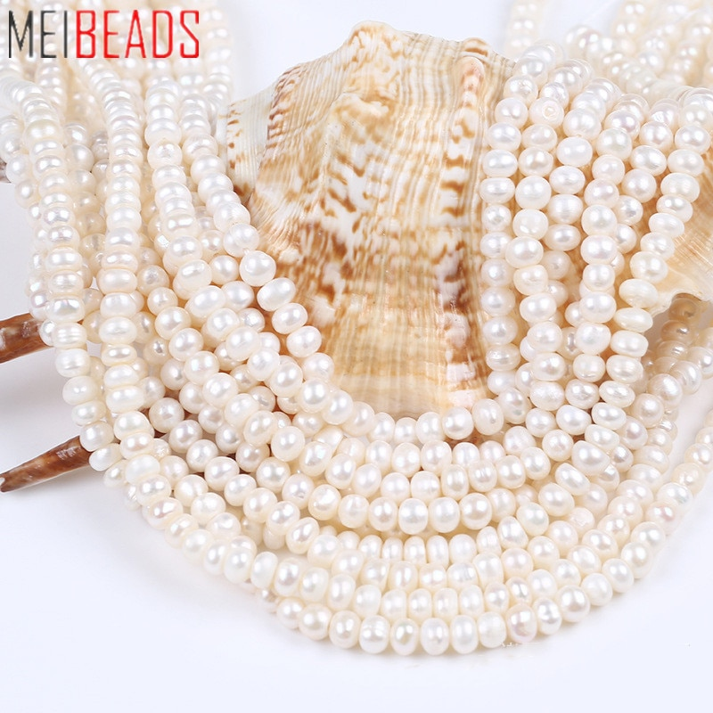 MeiBeads 36-38CM White Bread Pearl String Freshwater Cultured Flat Piece For DIY Necklace Bracelet Earring Parts New 2021