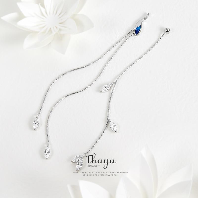 Thaya Chinese Style Asymmetry Blue Crane Earring Line 925 Silver Earrings For Women Special Fine Jewelry