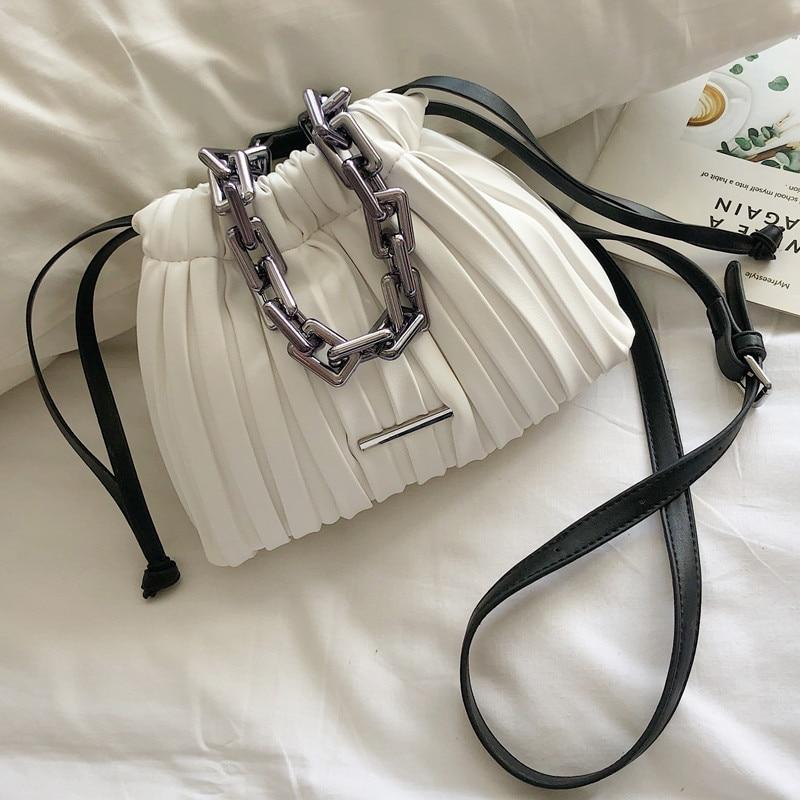 Luxury Brand Designer Women Bags 2020 Drawstring Bucket Bag With Thick Chain Crossbody Bag Branded Women's Small Handbag
