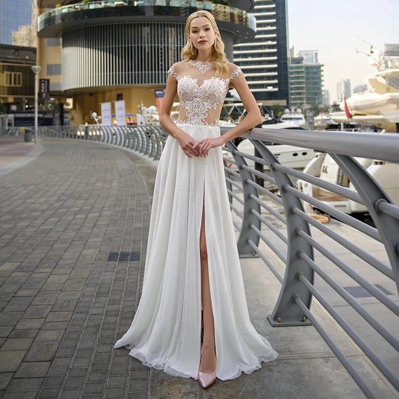 Get ChuYu 2021 Graceful High Side Chiffon Illusion Appliques O Neckline Vestido De Novia Long A-line Wedding Dress Formal Occasion