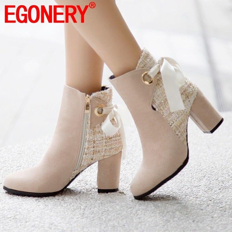 EGONERY-حذاء نسائي بكعب عالٍ ، حذاء زفاف بيج مع شريط ، موضة الخريف والشتاء