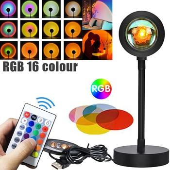 16 Colour Sunset Lamp USB Night Light Room Bedroom Room Decor Bar Atmosphere Photography Background For Photographic TikTok Live