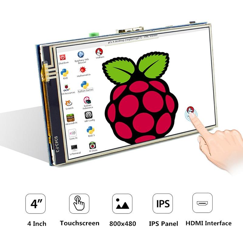 Nueva versión 4 pulgadas IPS pantalla táctil resistiva pantalla táctil 800x480 HDMI pantallas táctiles para Raspberry Pi 4B 3B + 3B
